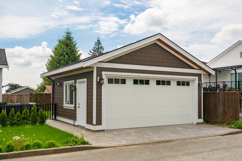 Detached garage of residential house